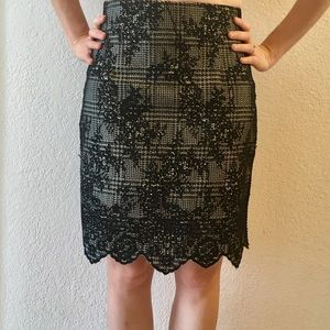 "Elegant ""lace"" black and beige pencil skirt"